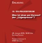 Neuer Veranstaltungsort für das IfK-Praxisforum am 28. Januar